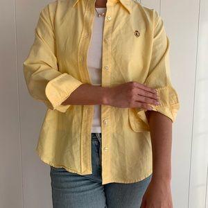 Vintage Ralph Lauren Yellow Cotton Button Down Top